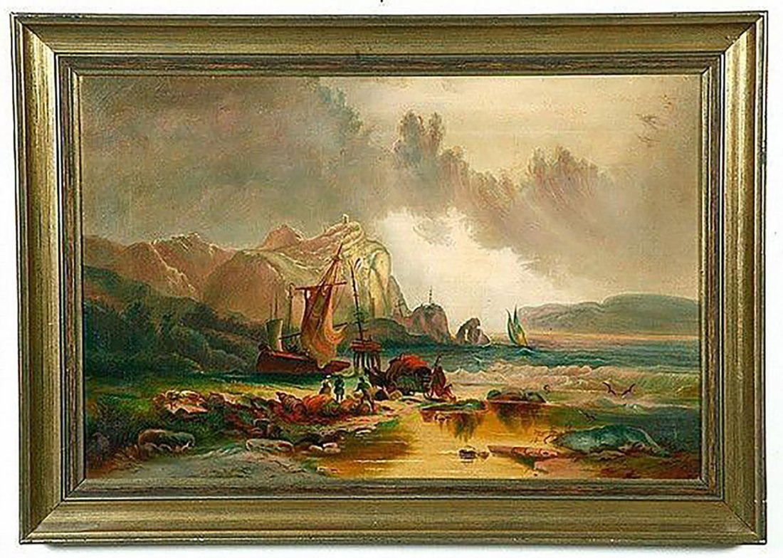 "19th Century French Oil Painting Entitled ""Shipwreck"""