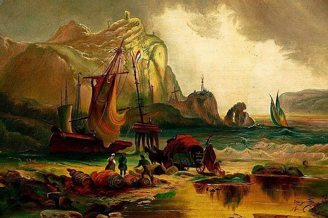 "19th Century French Oil Painting Entitled ""Shipwreck"" - 2"