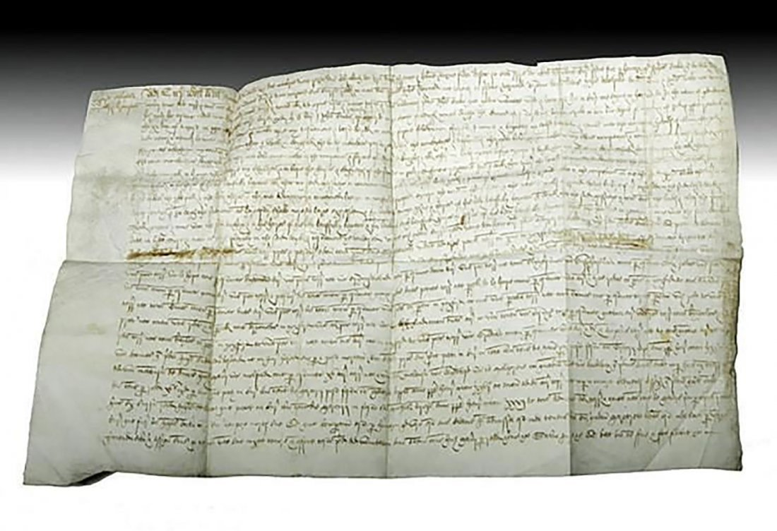 16th C. Handwritten English Court Document On Vellum