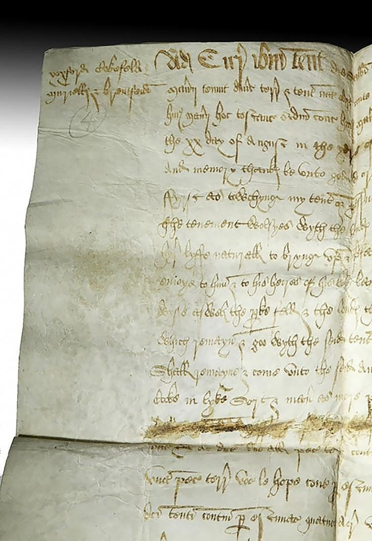 16th C. Handwritten English Court Document On Vellum - 2