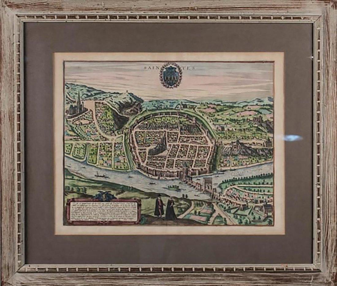 "Map Entitled ""Cite De Saintes "" By Braun & Hogenberg"