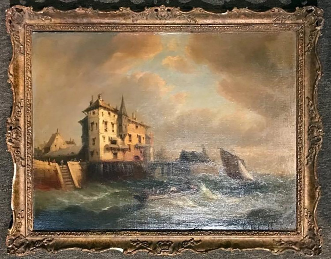 19th C. Marine Seascape Oil Painting