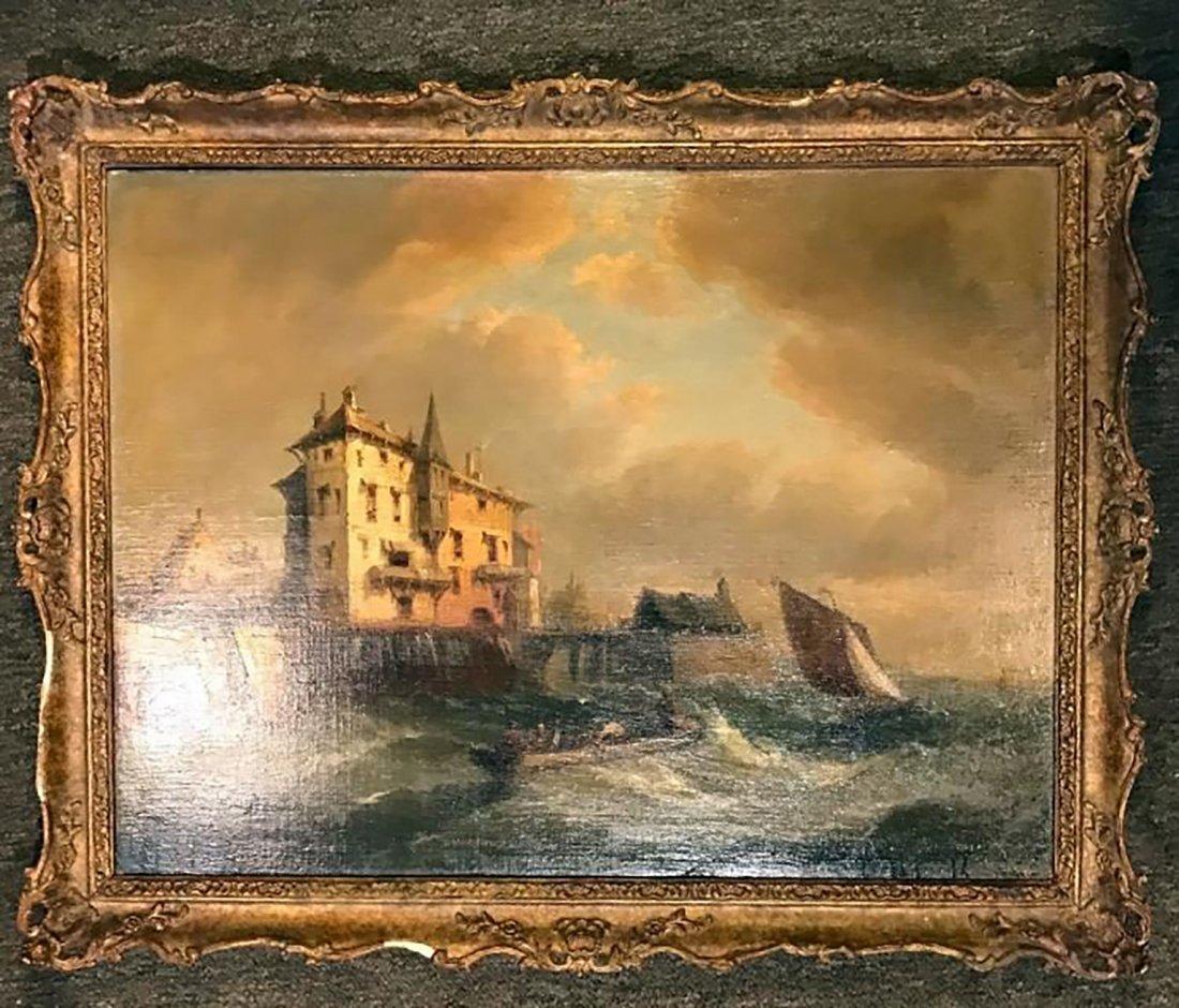 19th C. Marine Seascape Oil Painting - 4
