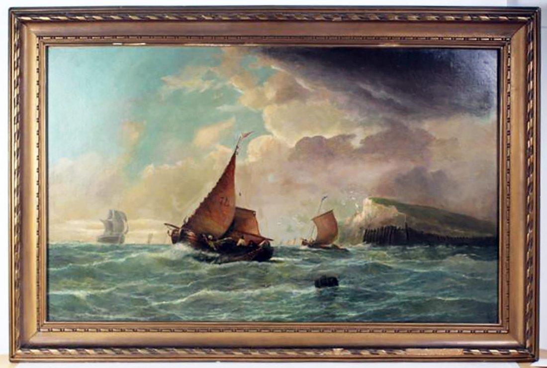 19th C. Dutch Marine Oil Painting Ships Off the Coast