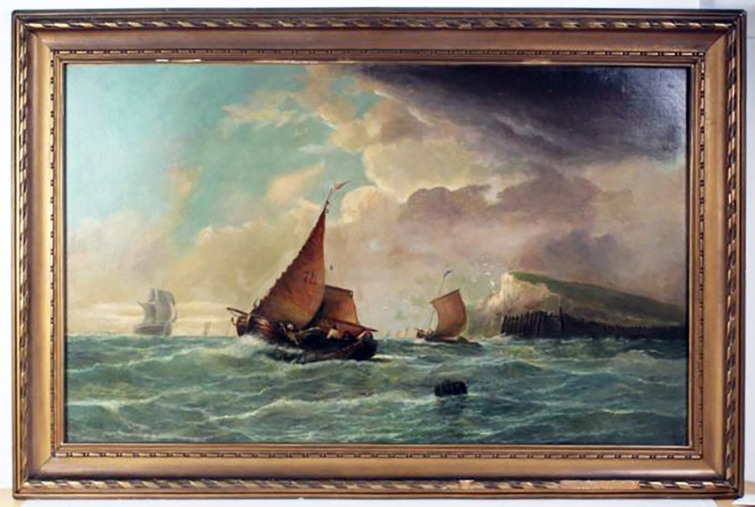 19th C. Dutch Marine Oil Painting Ships Off the Coast