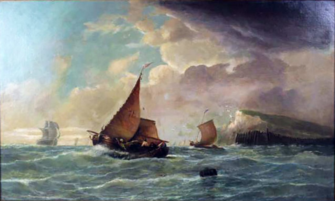 19th C. Dutch Marine Oil Painting Ships Off the Coast - 2