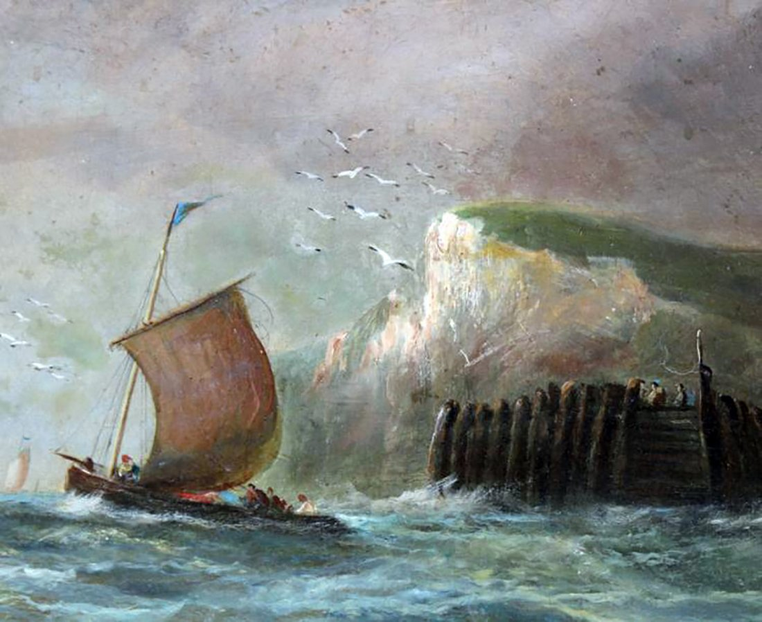 19th C. Dutch Marine Oil Painting Ships Off the Coast - 5