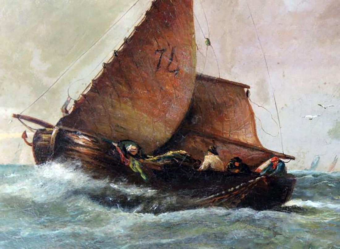 19th C. Dutch Marine Oil Painting Ships Off the Coast - 6