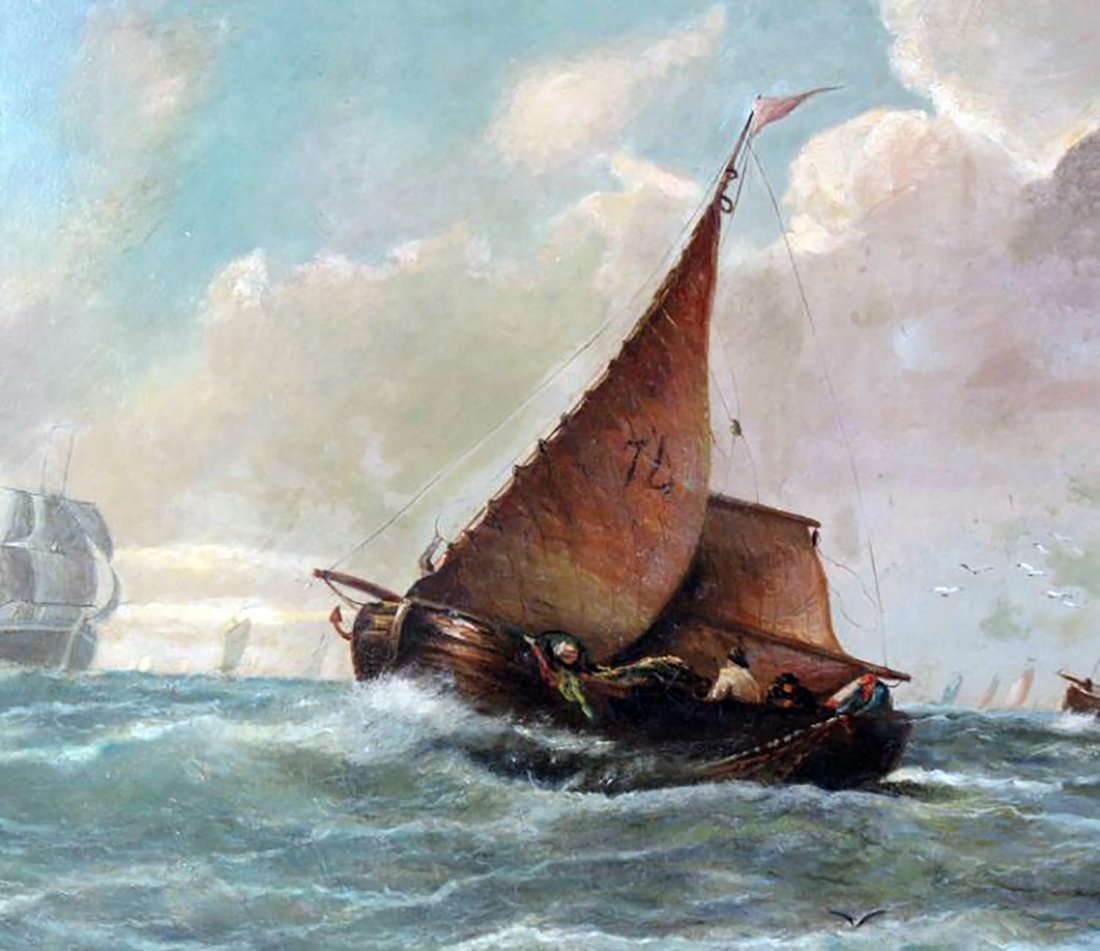 19th C. Dutch Marine Oil Painting Ships Off the Coast - 7