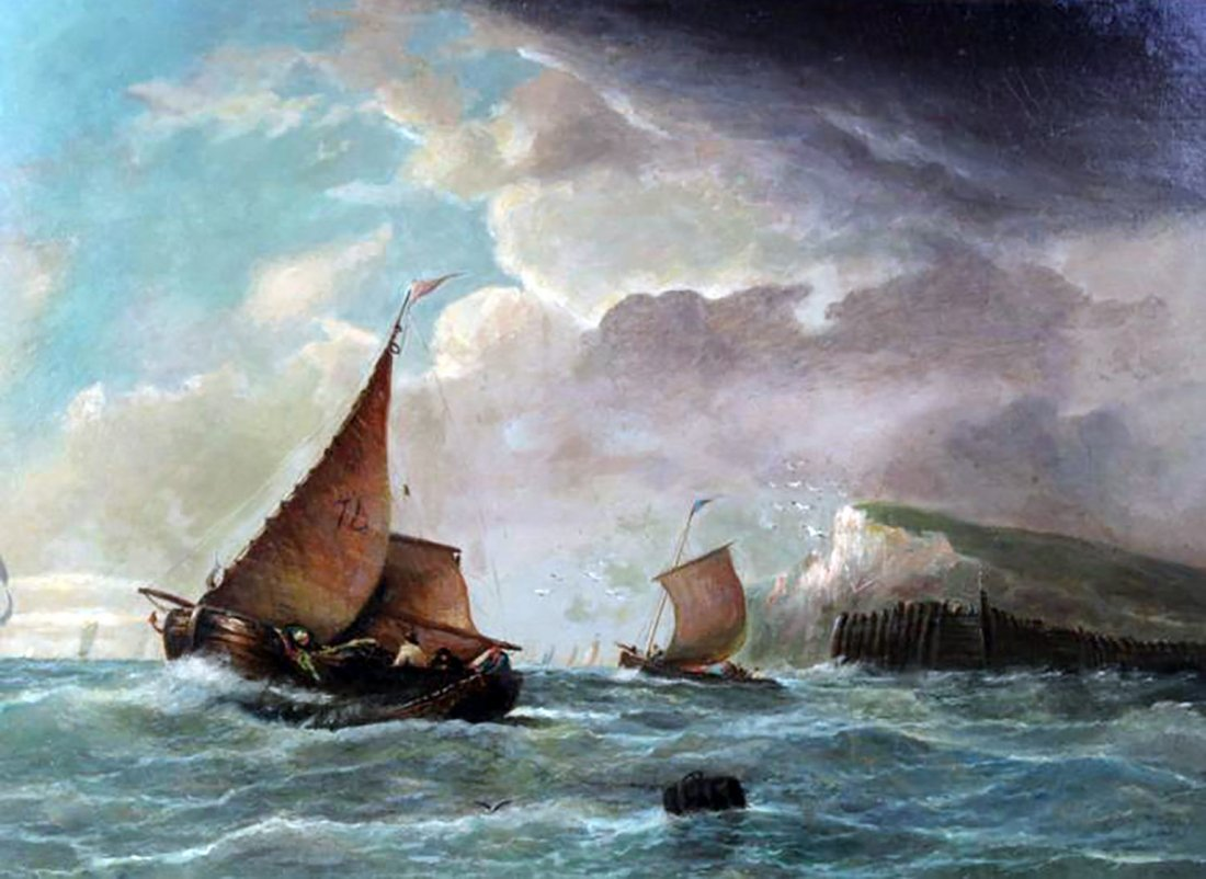 19th C. Dutch Marine Oil Painting Ships Off the Coast - 8