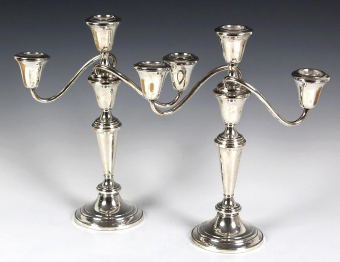 Pair Of Sterling Silver Candelabras Candlesticks