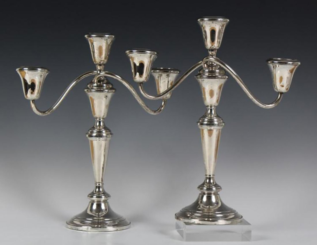 Pair Of Sterling Silver Candelabras Candlesticks - 4
