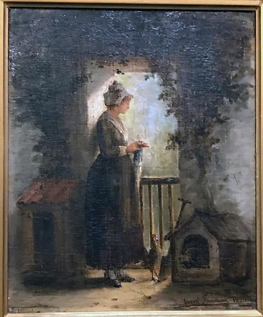 19th C.French Portrait Oil Painting By Ernest Binchard - 2