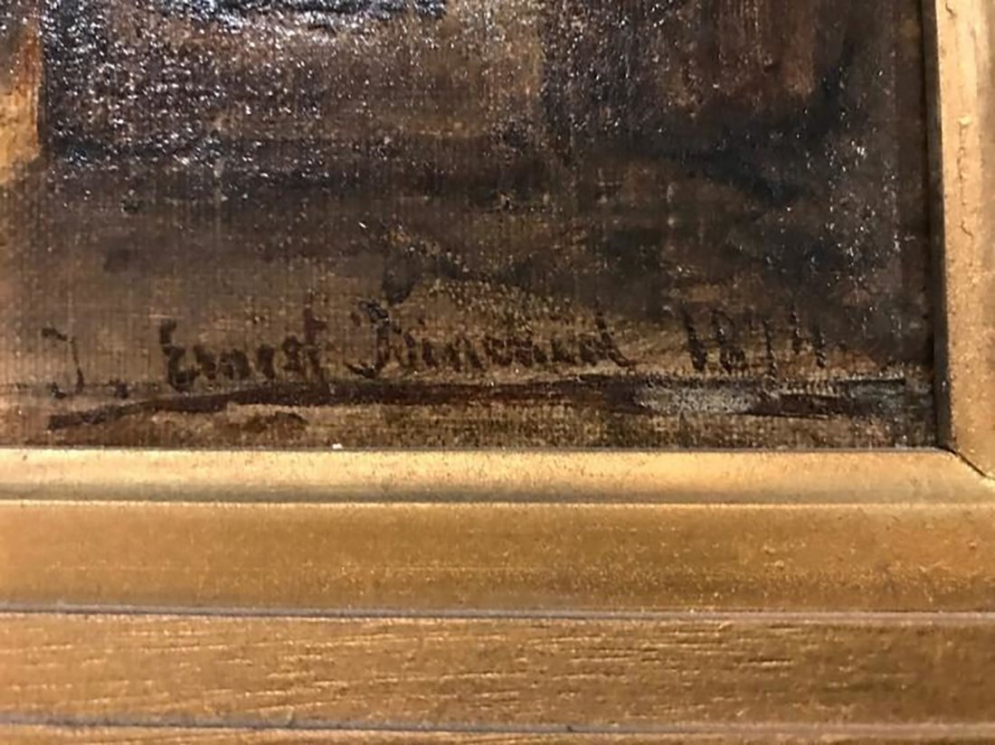 19th C.French Portrait Oil Painting By Ernest Binchard - 3
