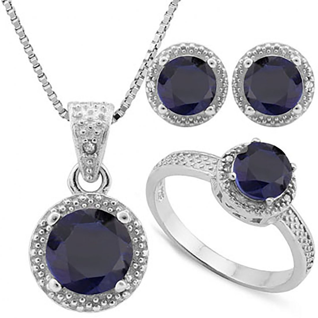Sapphire & Diamond Matching Jewelry Ensemble