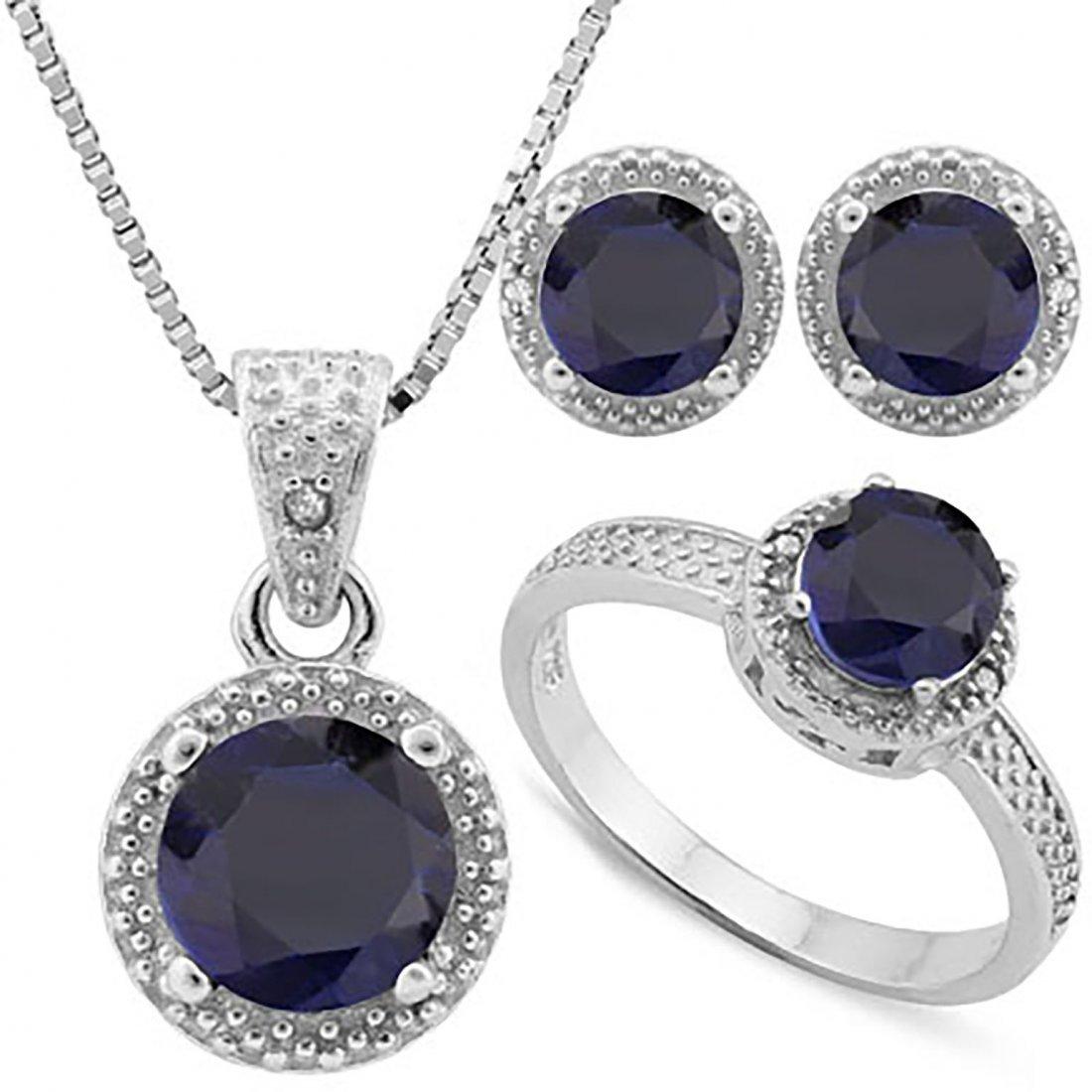 Sapphire & Diamond Matching Jewelry Ensemble