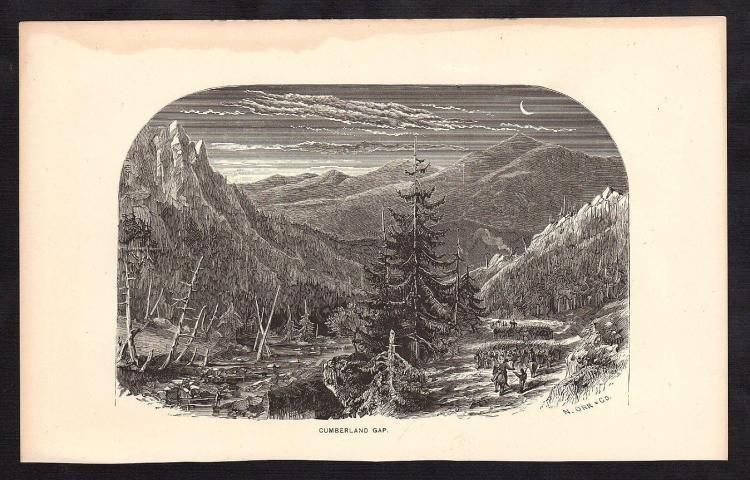 Engraved Civil War Engraving of Cumberland Gap
