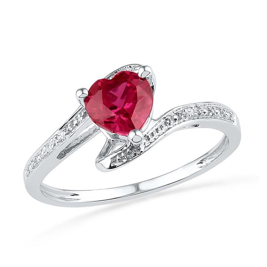 Heart Shaped Ruby Ring with Diamond Accents