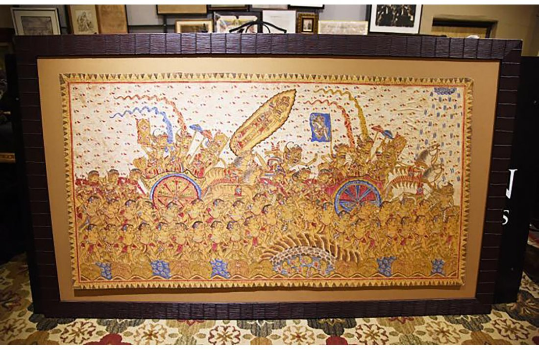 Large Remarkable Indonesian Batik Dyed Cloth Painting - 2