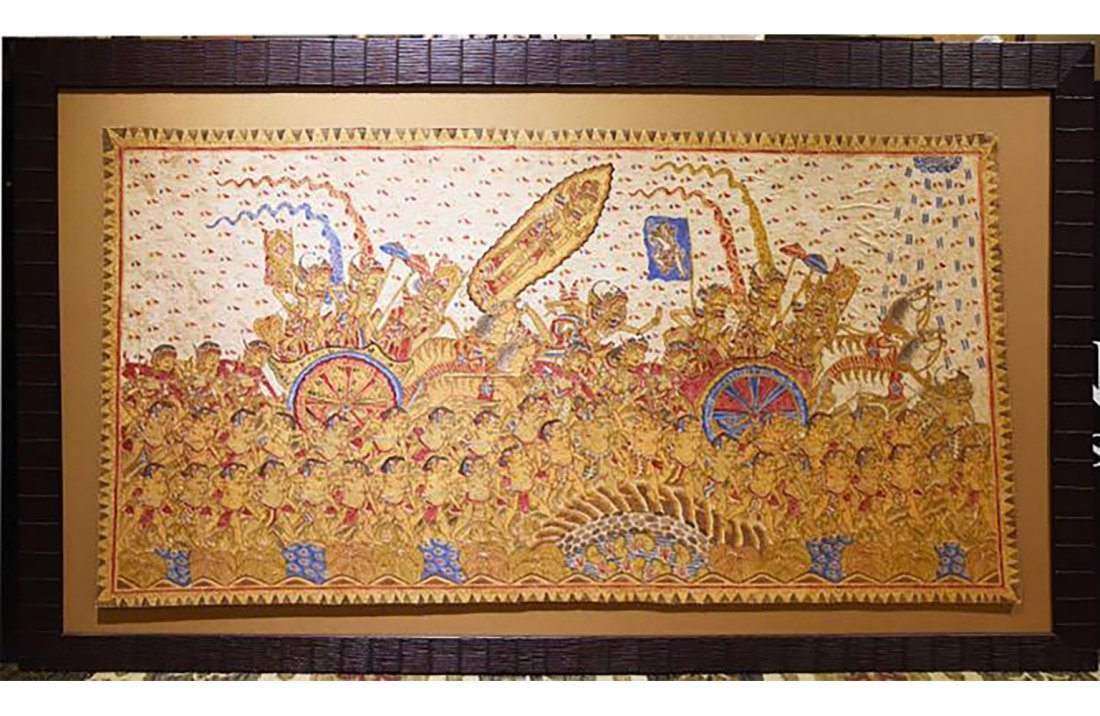 Large Remarkable Indonesian Batik Dyed Cloth Painting - 3