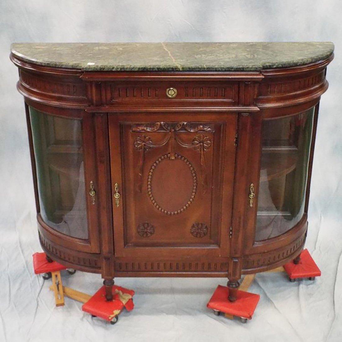 Marble Topped Mahogany Single Door Display Cabinet