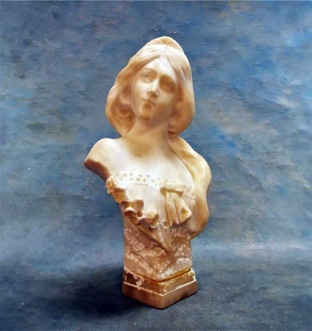 Antique Italian Marble Sculpture Bust of Woman