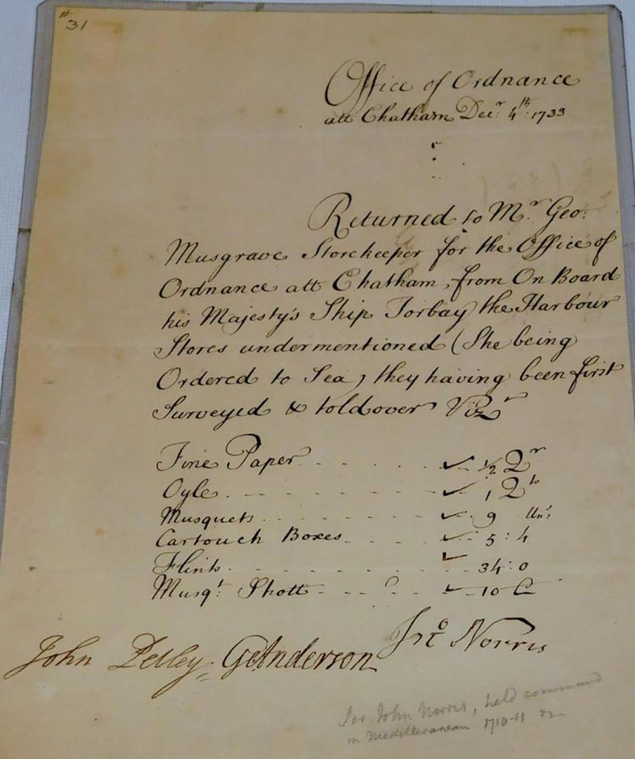 Antique Original 1733 Office of Ordinance HMS Torbay