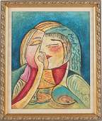 Modern Cubist Impasto Portrait by Benjamin Long