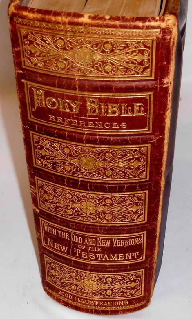 Large Antique Leather Family Pictorial Bible - 2