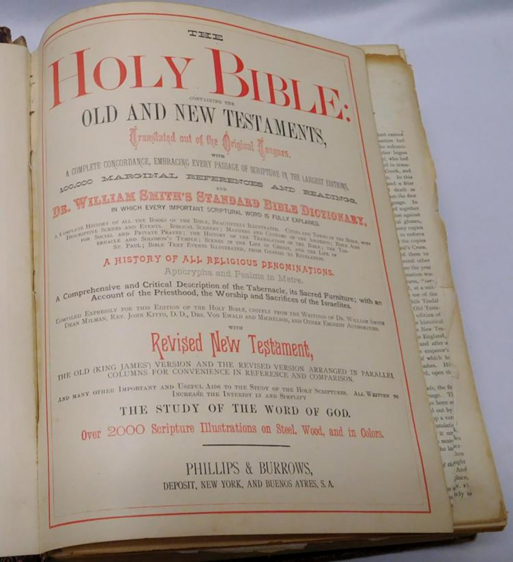Large Antique Leather Family Pictorial Bible - 5