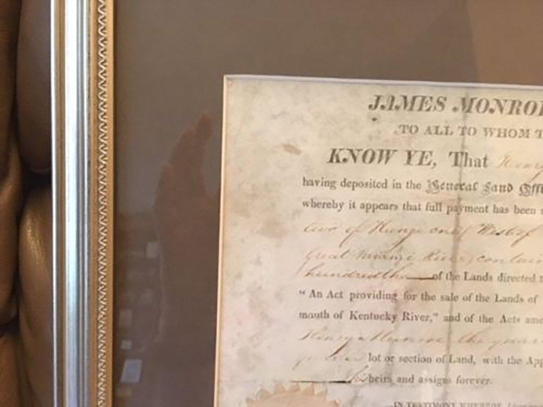 James Monroe Autographed Land Grant - 2