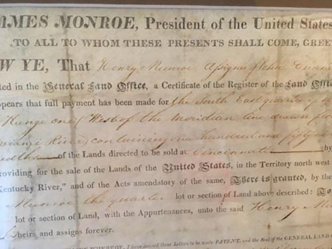 James Monroe Autographed Land Grant - 9