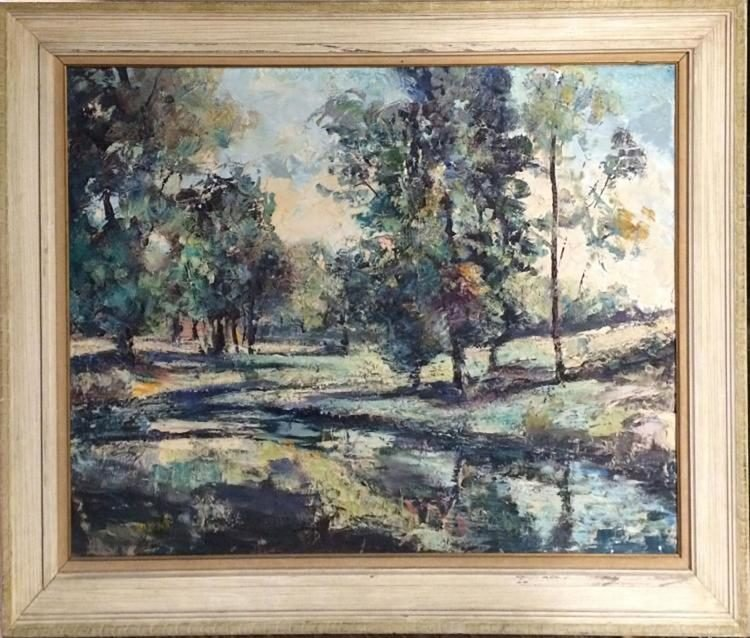 Large American Modernism Landscape/Riverscape oil paint