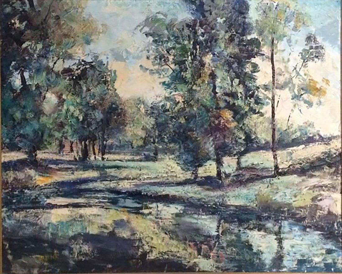 Large American Modernism Landscape/Riverscape oil paint - 2