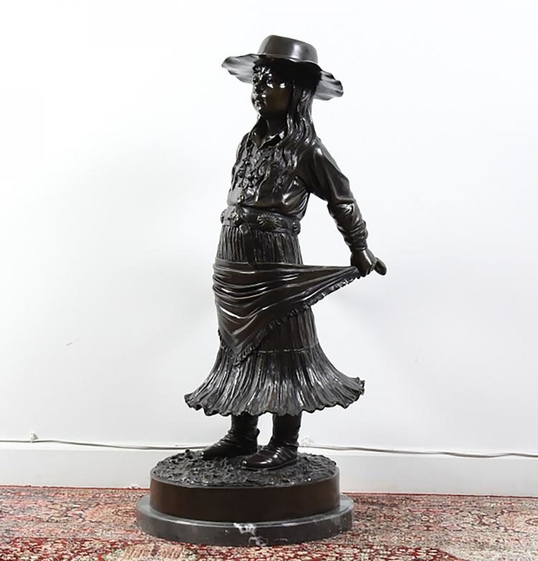 Large Signed  Bronze Sculpture Of A Young Girl