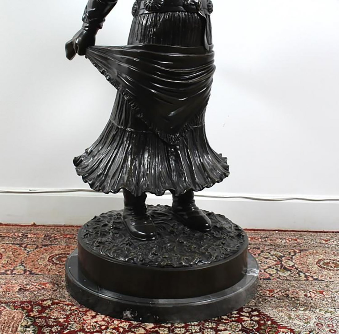 Large Signed  Bronze Sculpture Of A Young Girl - 3
