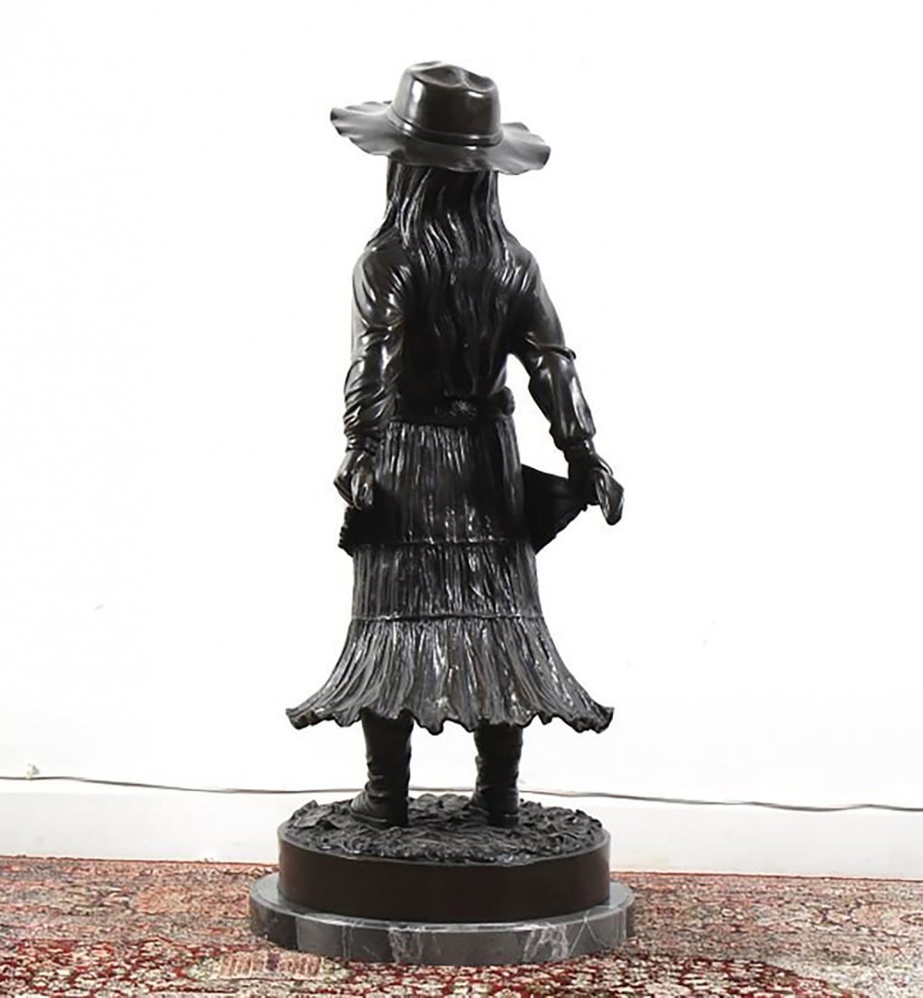 Large Signed  Bronze Sculpture Of A Young Girl - 5