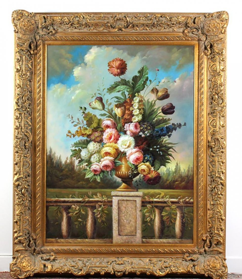 Monumental Signed Floral Oil Painting By Kate Young