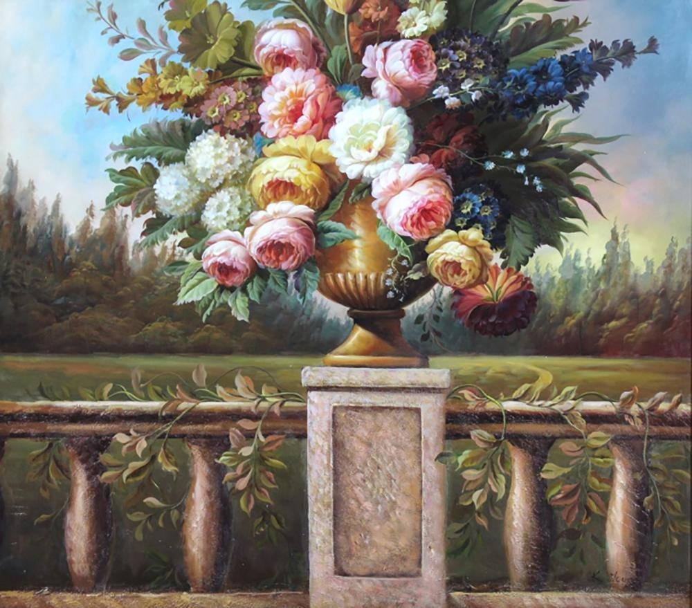 Monumental Signed Floral Oil Painting By Kate Young - 4