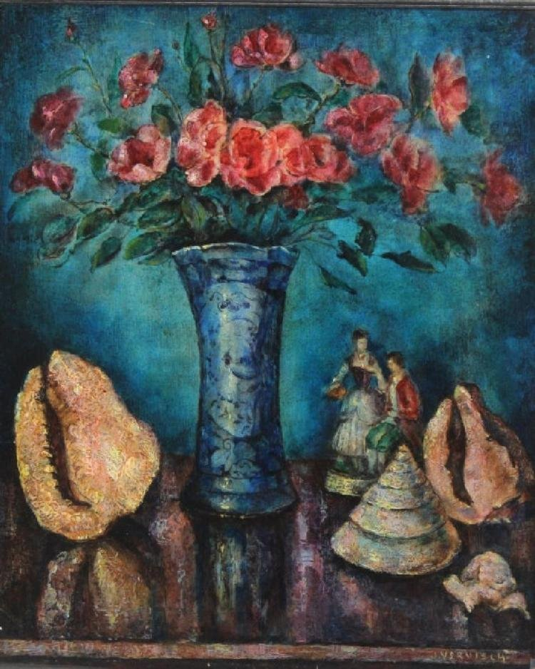 Modern Still LIfe Floral Oil Painting By Jean Vervisch - 2