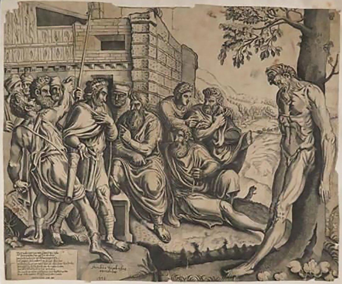 "Frans Floris Engraving Entitled ""Gesta Romanarum"""