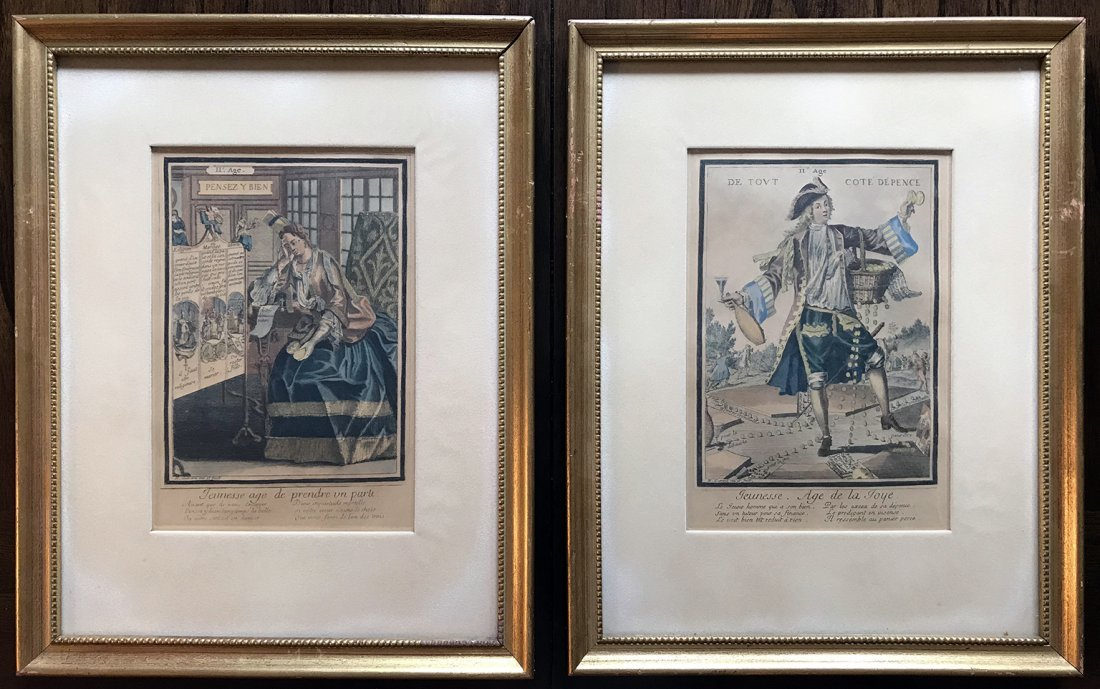 Satirical Hand Colored Etchings By Nicolas Guerard