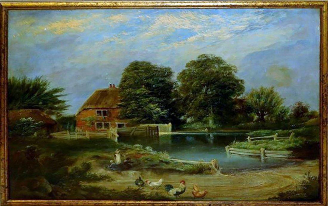 19th Century Cottage Landscape Oil Painting