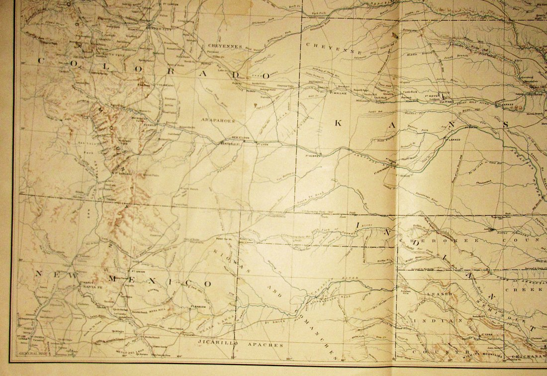 Large Antique 1867 Map of Western Territories