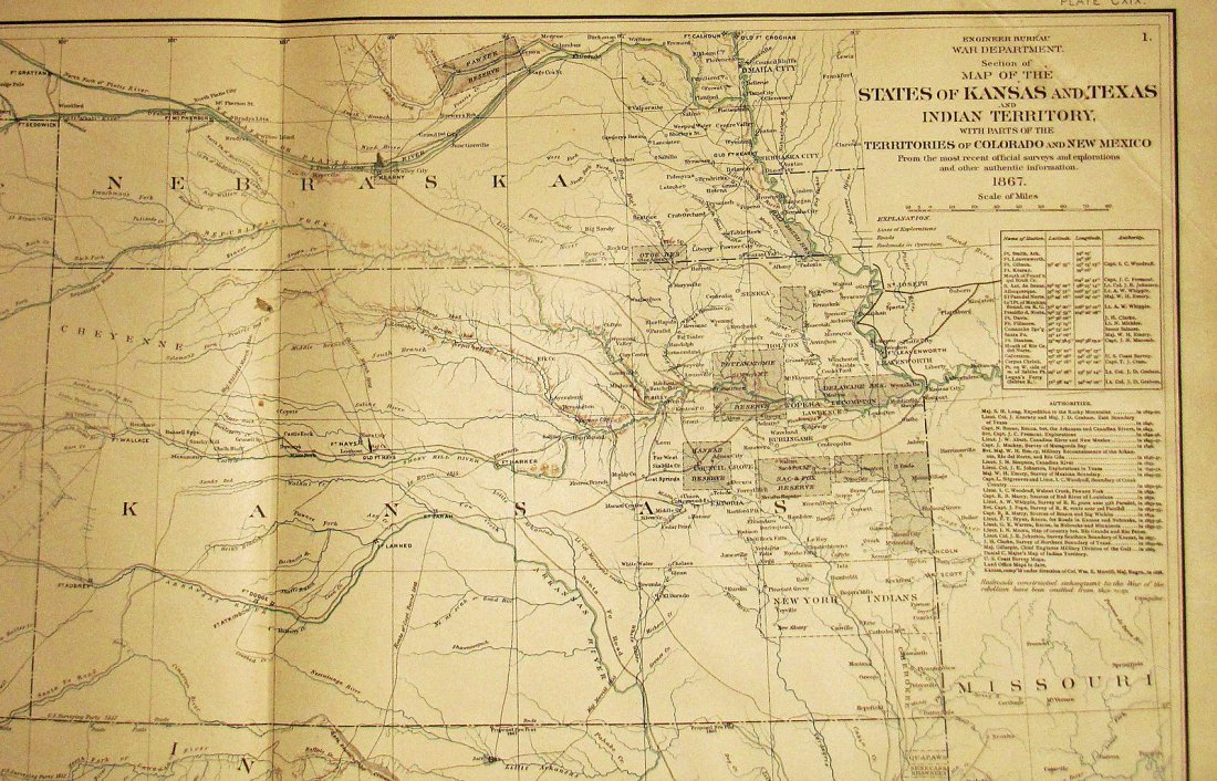 Large Antique 1867 Map of Western Territories - 2