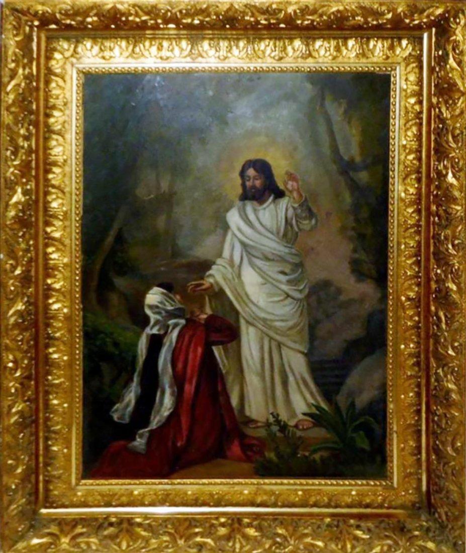 19th Century Oil Painting Woman Kneeling Before Jesus