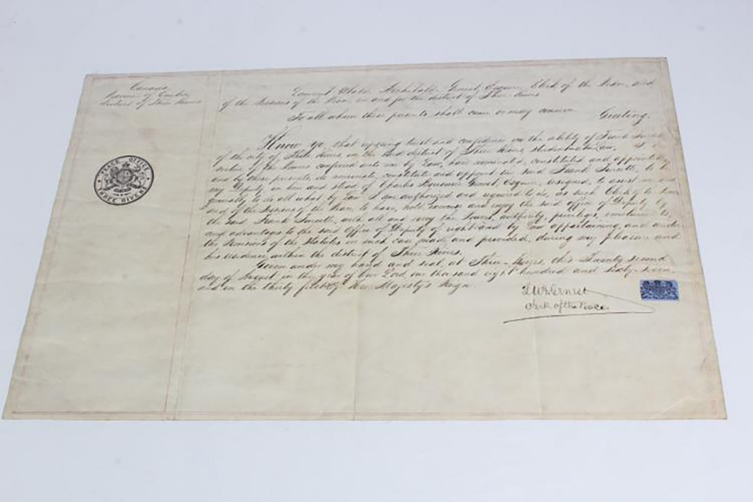 Three Rivers Peace Office Hand Written Letter from 1867