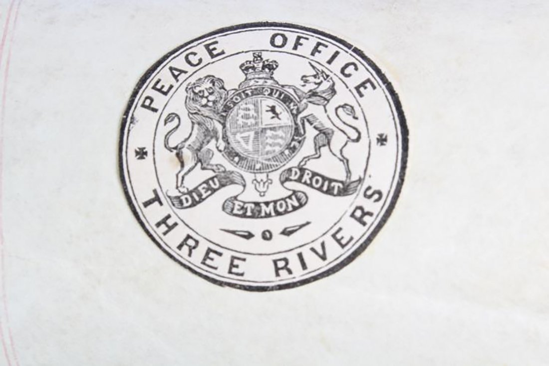 Three Rivers Peace Office Hand Written Letter from 1867 - 9