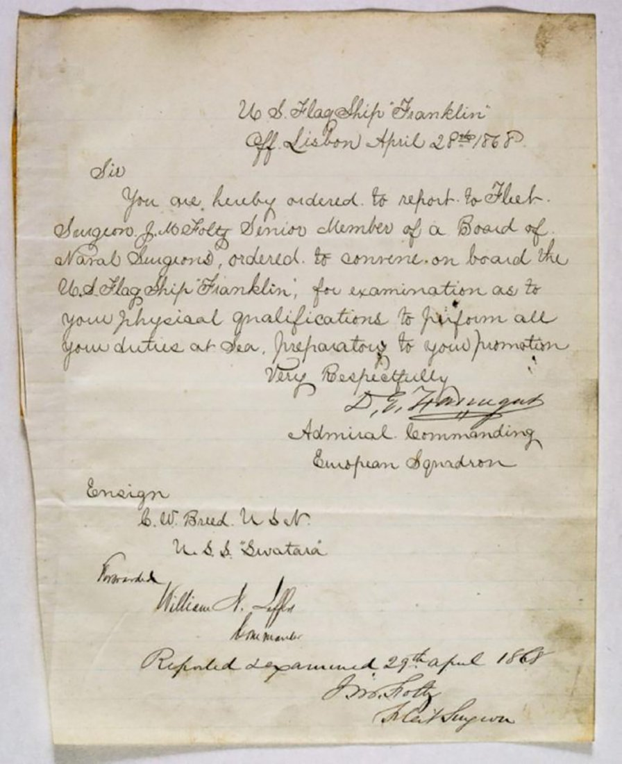 Autographed Letter Signed by Admiral David Farragut