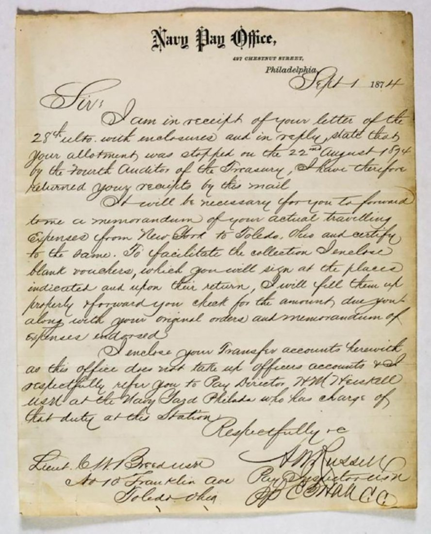 Autographed Letter Signed by Admiral David Farragut - 2